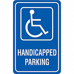 Parking Sign,18 x 12In,WHT/BL,G-42,HDCP