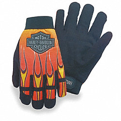Mechanics Gloves,Blk/Orange/Yellow,L,PR