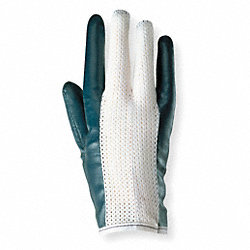 Canvas Gloves,Nitrile, 10,Blue/White,PR