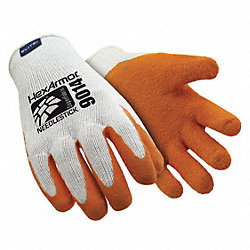Cut Resistant Gloves,White/Orange,L,PR