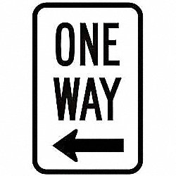 Traffic Sign,18 x 12In,BK/WHT,OW,R6-2L